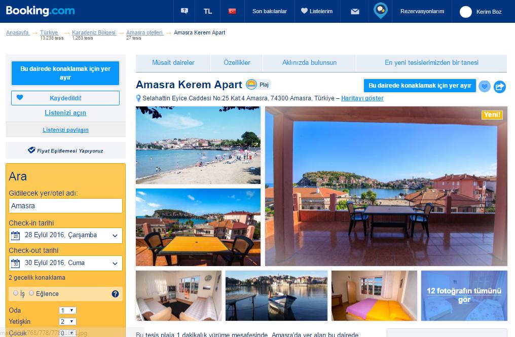 booking.com amasra kerem apart pansiyon